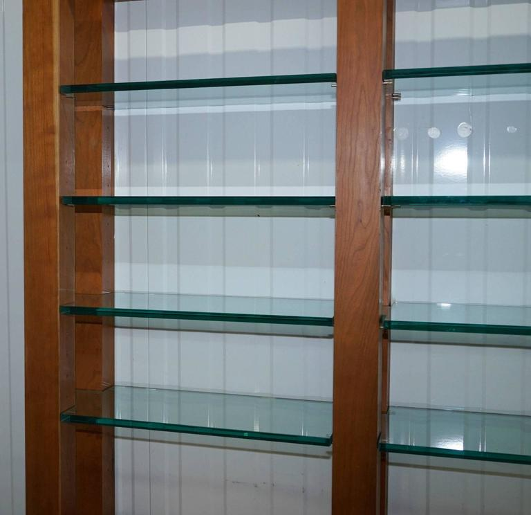 Contemporary Custom-Made One-Off Solid Cherrywood and Tempered Glass Bookcase Cabinet For Sale