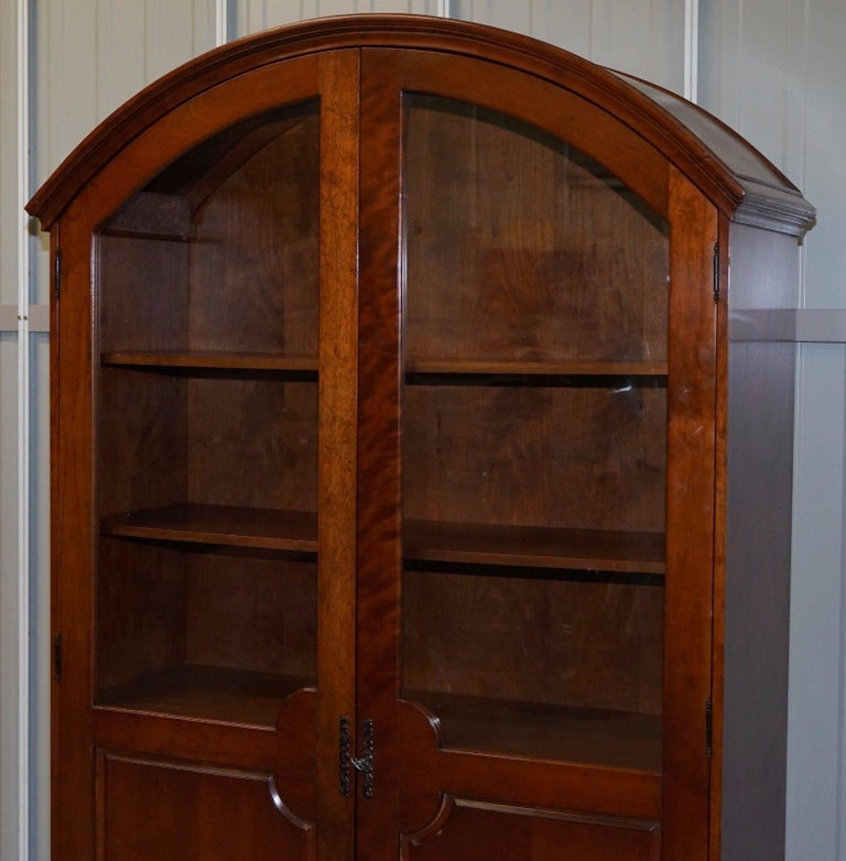 Victorian Solid Mahogany Bow Topped Bookcase with Glass Door For Sale