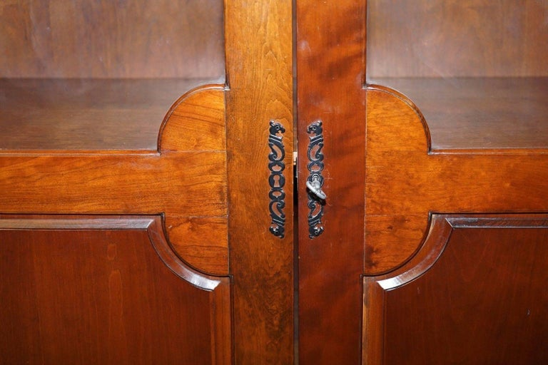 Hand-Carved Solid Mahogany Bow Topped Bookcase with Glass Door For Sale