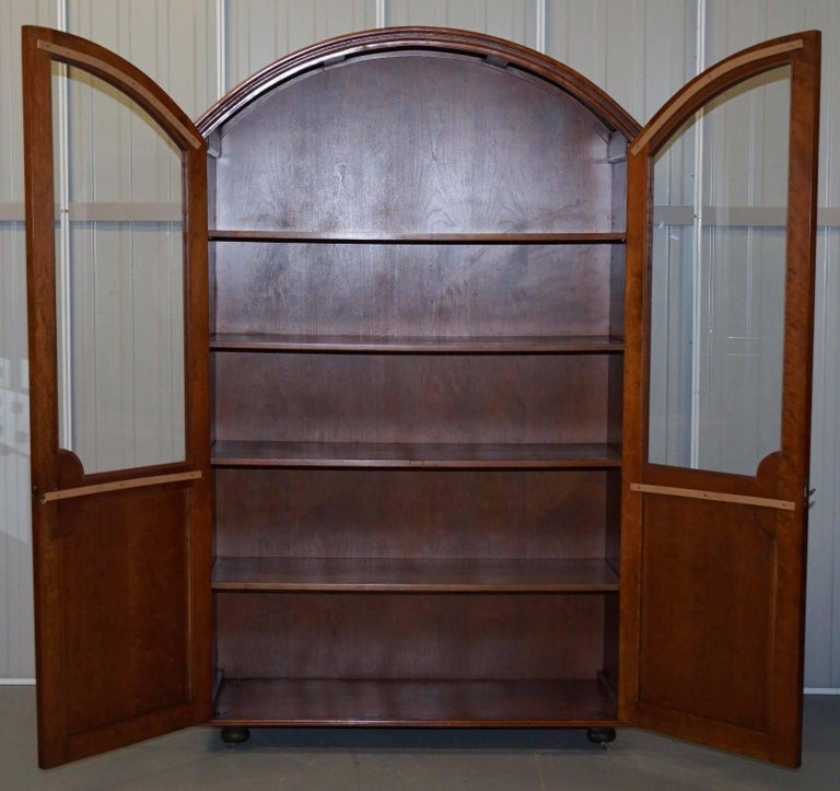 Solid Mahogany Bow Topped Bookcase with Glass Door In Good Condition For Sale In London, GB