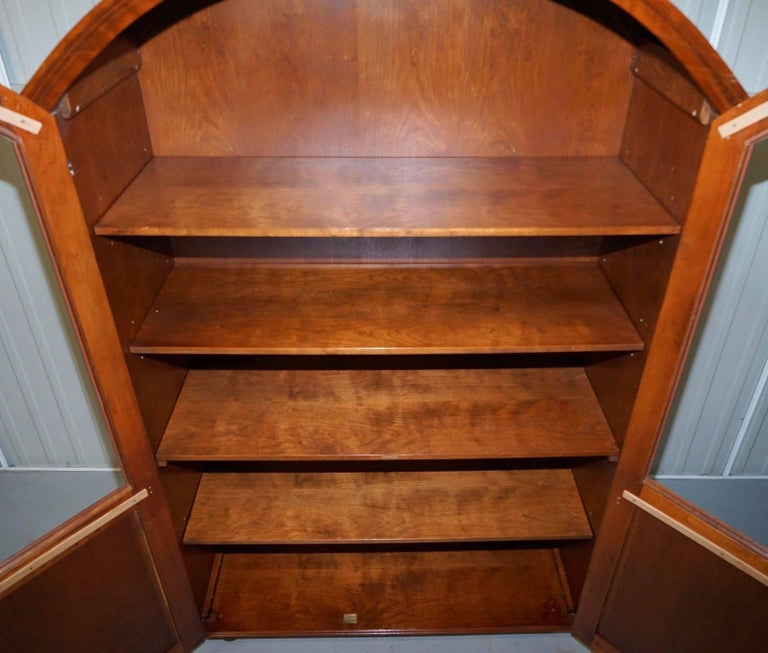 20th Century Solid Mahogany Bow Topped Bookcase with Glass Door For Sale