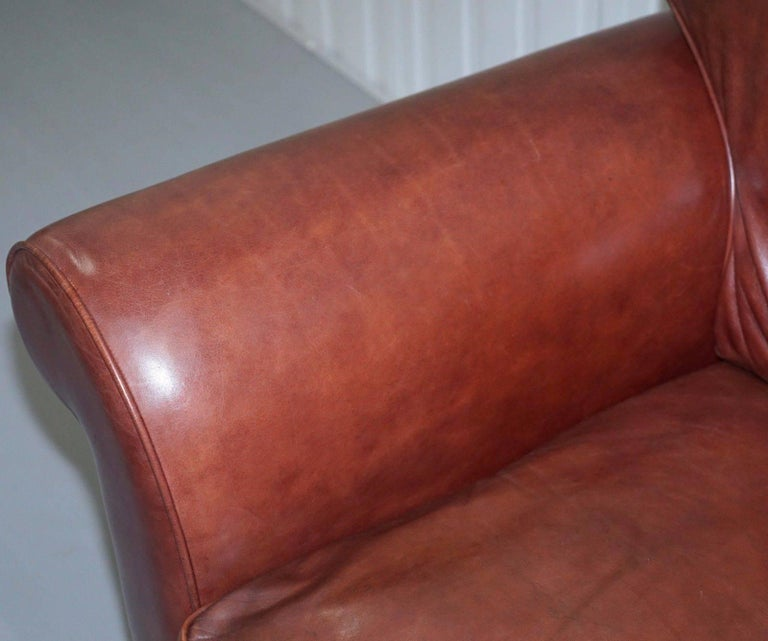 Unknown 1 of 2 Laura Ashley Heritage Brown Leather Large 2.5-Seat Sofas For Sale