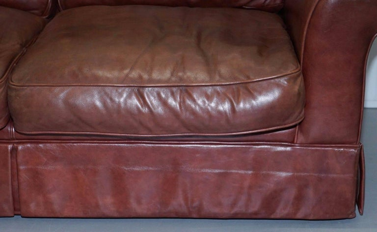 Hand-Crafted 1 of 2 Laura Ashley Heritage Brown Leather Large 2.5-Seat Sofas For Sale
