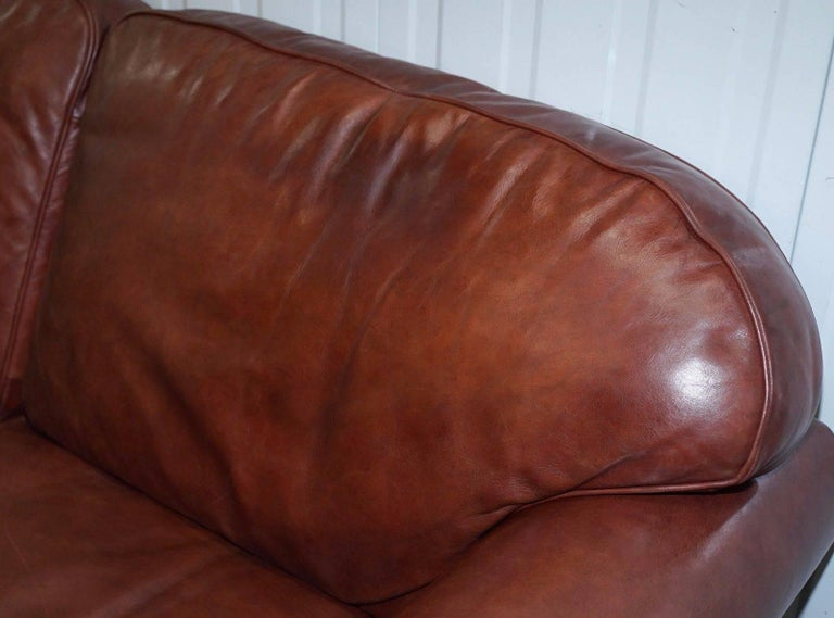 1 of 2 Laura Ashley Heritage Brown Leather Large 2.5-Seat Sofas For Sale 2