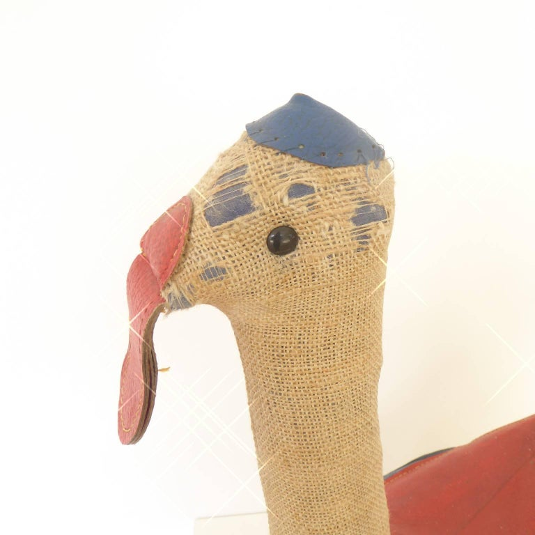 Leather Vintage Therapeutic Toy Rocking Duck by Renate Müller For Sale