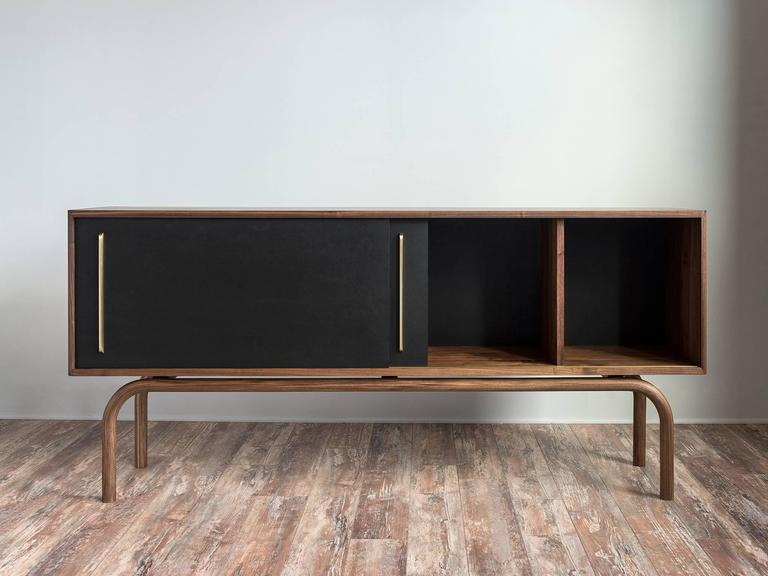 Minimalist Gatsby Credenza, Solid Wood, Brass and Richlite® For Sale