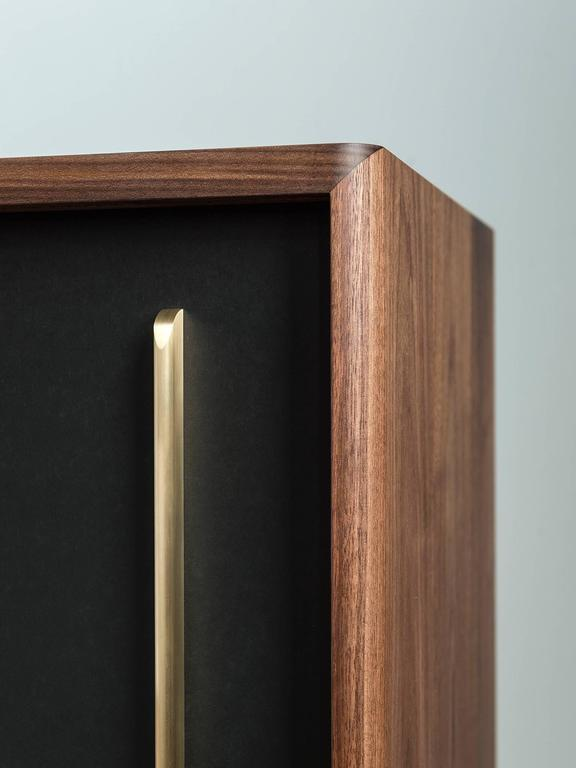 Hand-Crafted Gatsby Credenza, Solid Wood, Brass and Richlite® For Sale