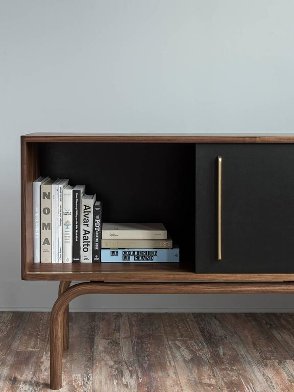 Gatsby Credenza, Solid Wood, Brass and Richlite® In New Condition For Sale In Brooklyn, NY
