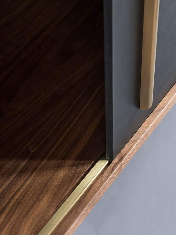 Walnut Gatsby Credenza, Solid Wood, Brass and Richlite® For Sale