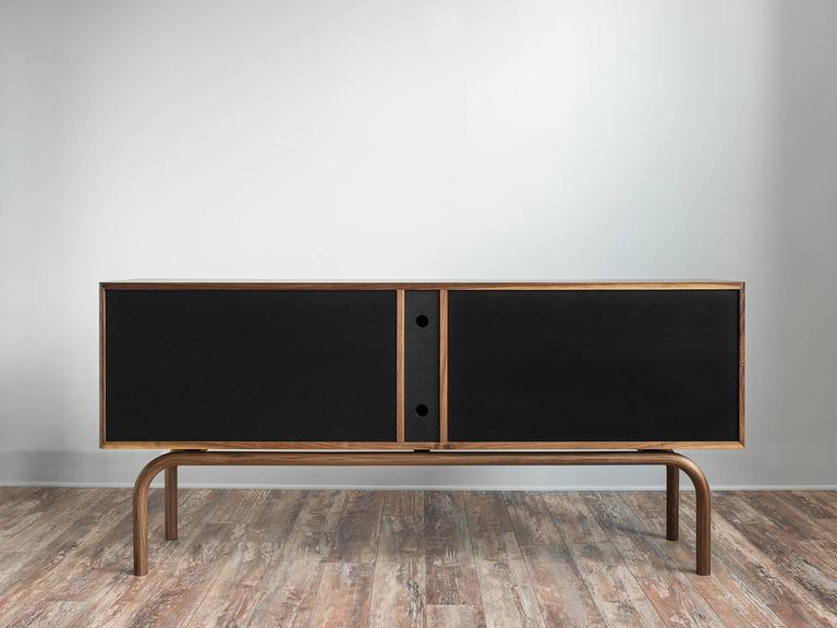 Gatsby Credenza, Solid Wood, Brass and Richlite® For Sale 2
