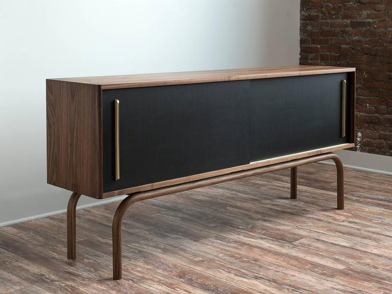 Gatsby Credenza, Solid Wood, Brass and Richlite® For Sale 1