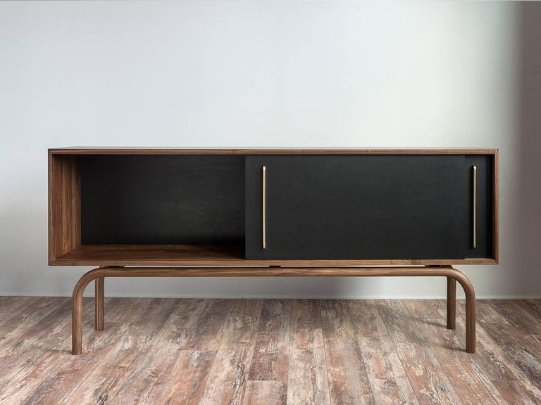 American Gatsby Credenza, Solid Wood, Brass and Richlite® For Sale