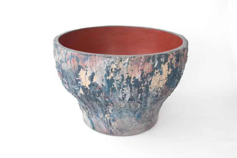 Large custom planter with textures inspired from ancient deadfall cottonwood bark. Original sculpture model was made from hand-cut pieces of bark collaged together.
