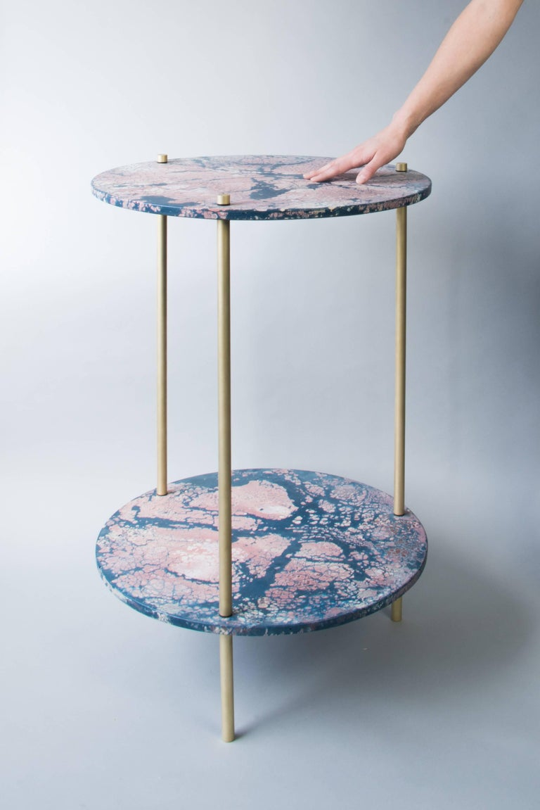 Two (2) concrete disks in Concrete Cat's exclusive oracle pattern with brass legs, a perfect balance between minimal design and extravagant finishes. Handmade in Canada.