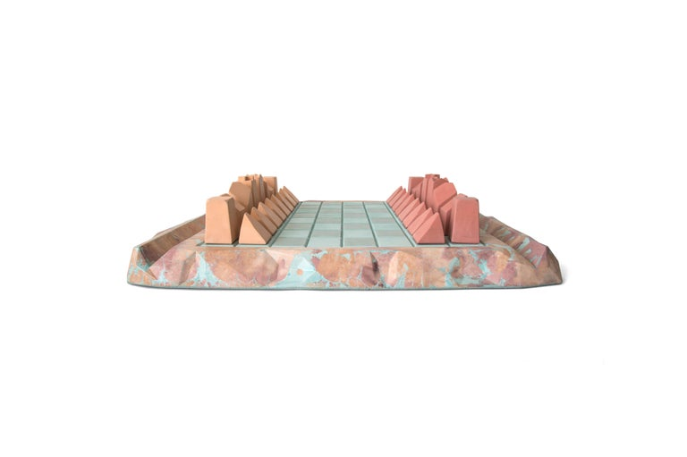 Caissa concrete chess board with oracle pattern. This is a special made-to-order item.
