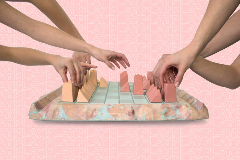 Canadian Caissa Concrete Chess Board with Oracle Pattern For Sale