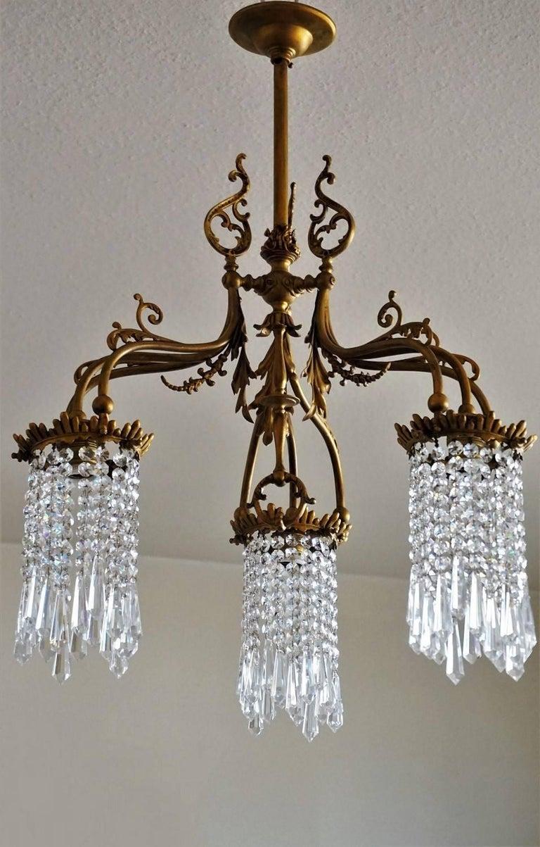 Art nouveau style bronze crystal chandelier for sale at for Chandelier art nouveau