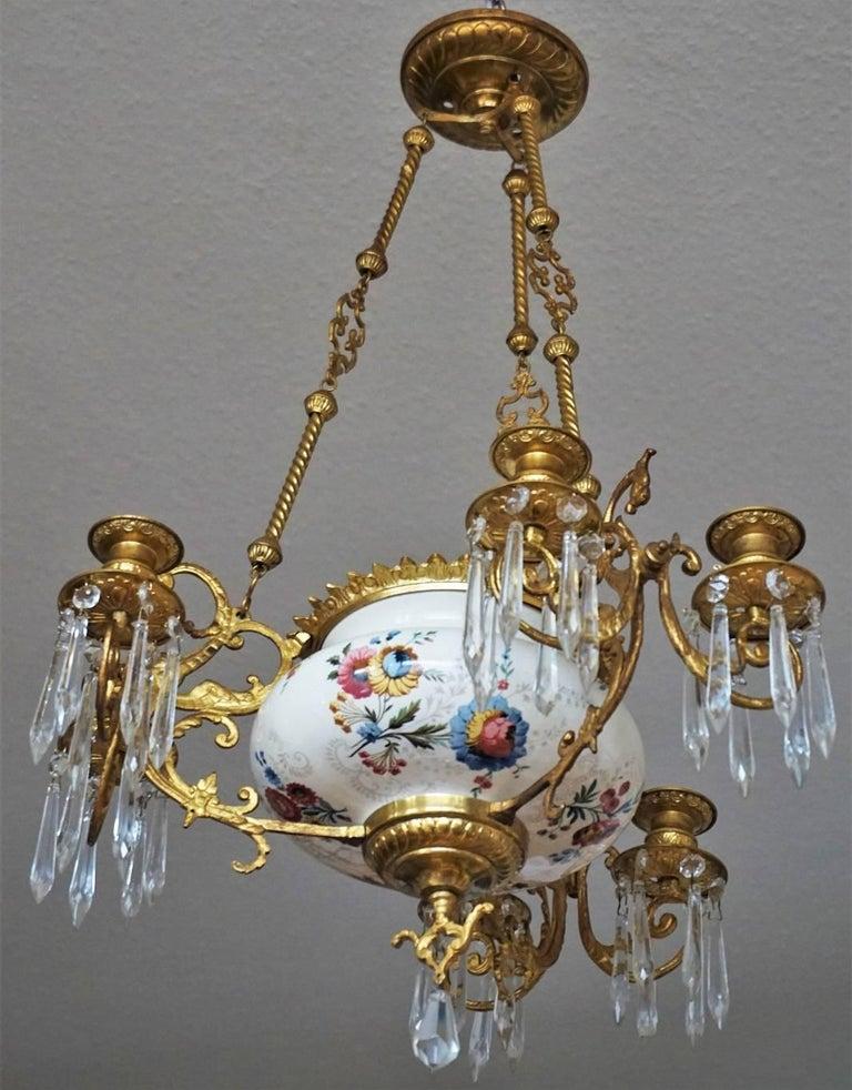 Kronleuchter aus vergoldeter Bronze und Fayence von Hautin & Boulanger, Frankreich, 19. Jahrhundert 6