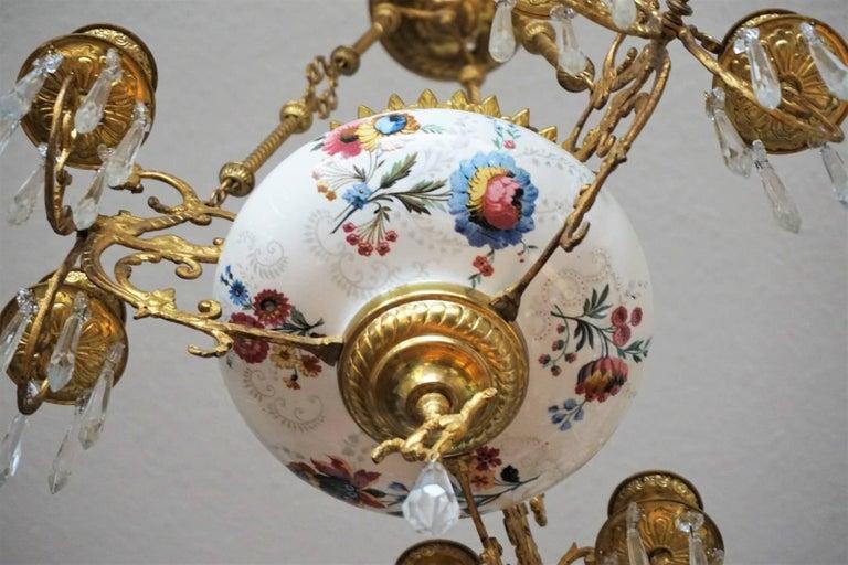Kronleuchter aus vergoldeter Bronze und Fayence von Hautin & Boulanger, Frankreich, 19. Jahrhundert 7