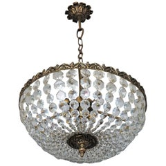 French Faceted Crystal Bronze Seven-Light Chandelier Flush Mount