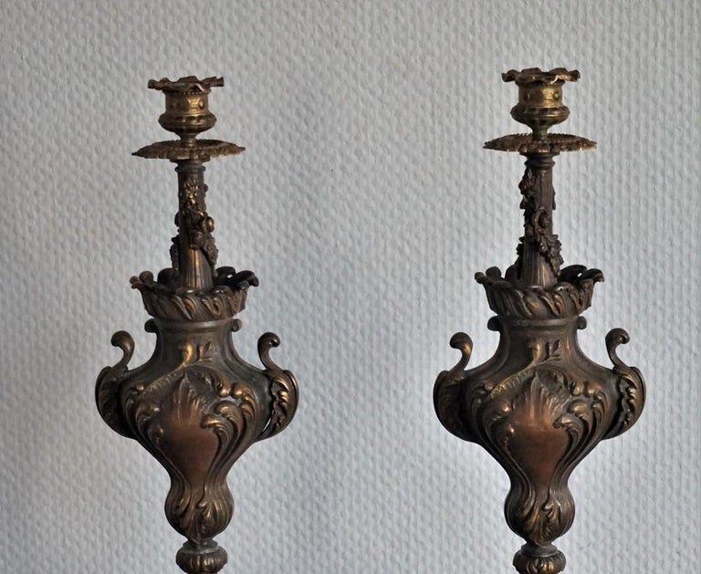 French 19th Century Pair of Tall Classical Bronze Urn Candleholders on Red Marble Base For Sale