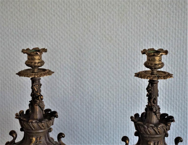 Cast 19th Century Pair of Tall Classical Bronze Urn Candleholders on Red Marble Base For Sale