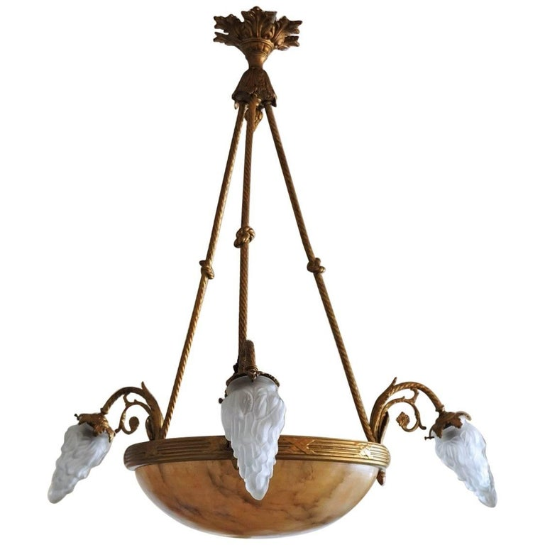 French Art Deco Alabaster Gilt Bronze Six-Light Chandelier For Sale