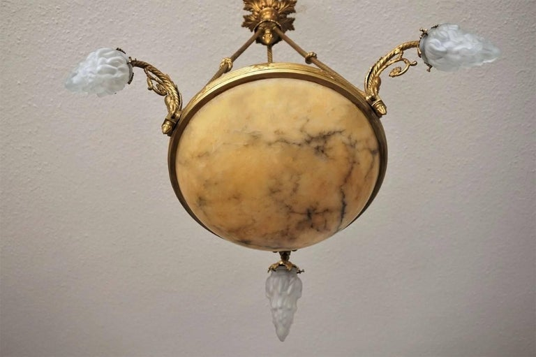 Frosted French Art Deco Alabaster Gilt Bronze Six-Light Chandelier For Sale