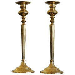 Pair of Solid Brass Altar Candleholders, France, Late 19th Century
