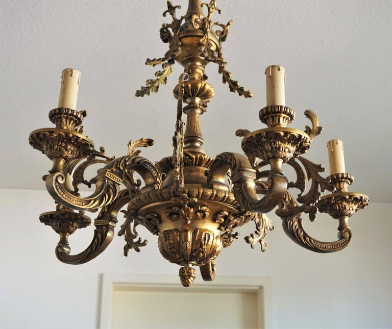 19th Century French Louis XVI Style Gilt Bronze Five-Arm Chandelier For Sale 1