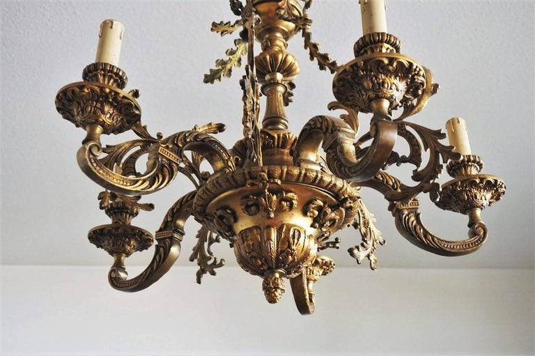 19th Century French Louis XVI Style Gilt Bronze Five-Arm Chandelier For Sale 3