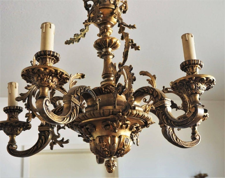 19th Century French Louis XVI Style Gilt Bronze Five-Arm Chandelier For Sale 4