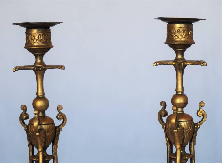 Mid-19th Century Pair of French Empire Style Gilt Bronze Candleholders For Sale 2