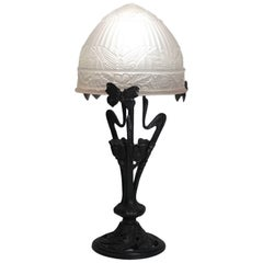 French Art Deco Wrought Iron and Frosted Art Glass Table Lamp