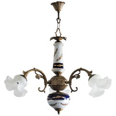 Mid-Century French Limoges Porcelain and Frosted Glass Three-Light Chandelier