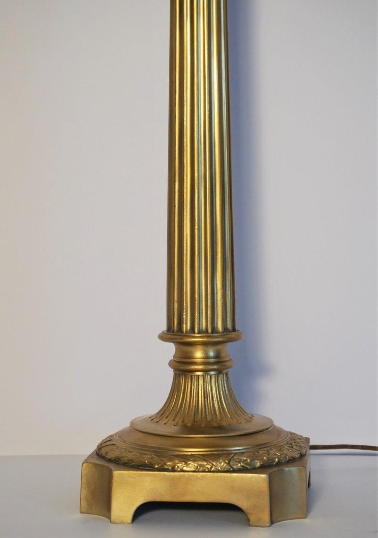 Large 19th Century Bronze Column Candelabra Table Lamp 7