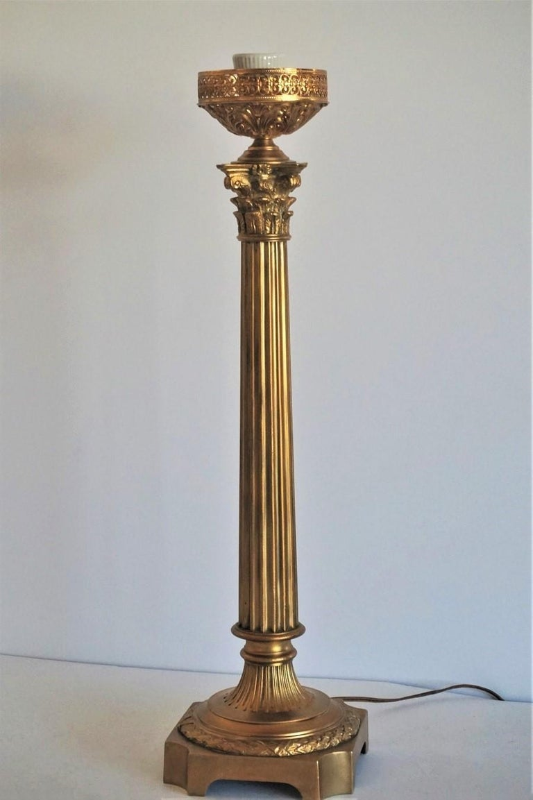 Large 19th Century Bronze Column Candelabra Table Lamp 9