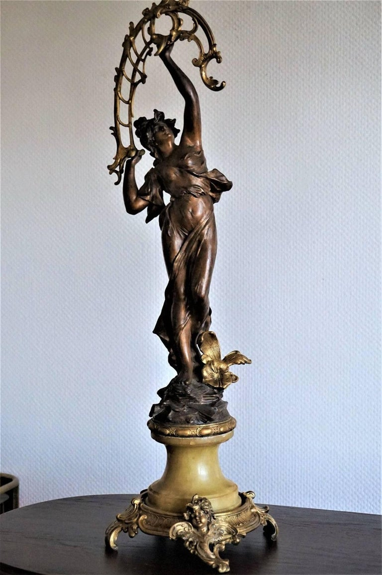 19th Century Pair of French Figurines Patinated and Doré Bronze Candelabra 6