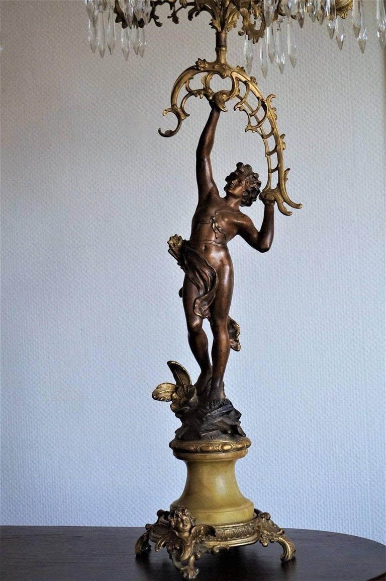 19th Century Pair of French Figurines Patinated and Doré Bronze Candelabra 7