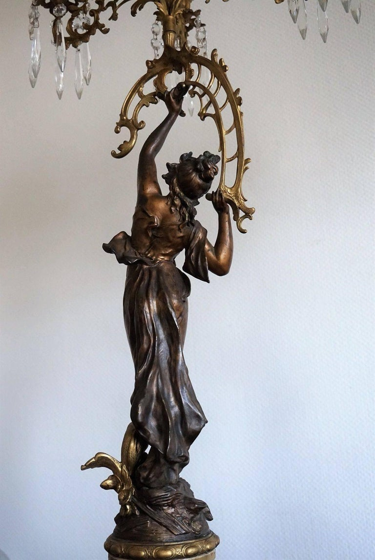 19th Century Pair of French Figurines Patinated and Doré Bronze Candelabra 9