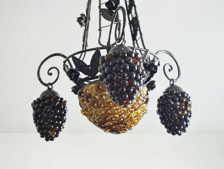 Italian Art Deco Murano Glass Grapes and Flowers Chandelier Pendant 5