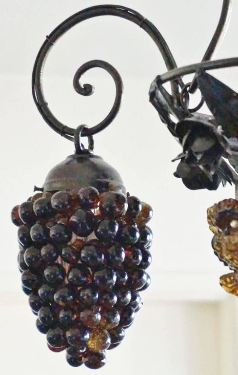 Italian Art Deco Murano Glass Grapes and Flowers Chandelier Pendant 6