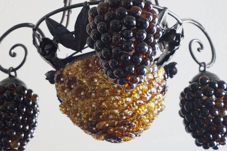 Italian Art Deco Murano Glass Grapes and Flowers Chandelier Pendant 7