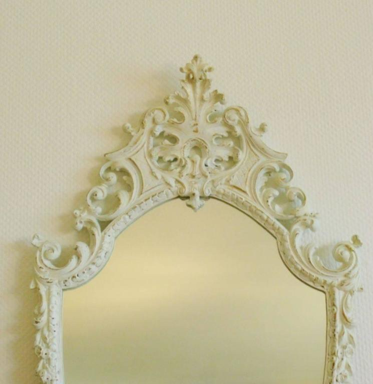Late 19th Century Art Nouveau White Carved Wood Wall Mirror For Sale ...
