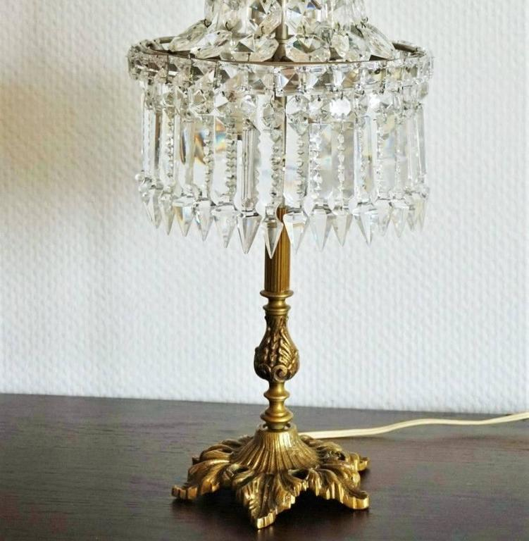 Vintage Cut Crystal And Bronze Two Light Table Lamp