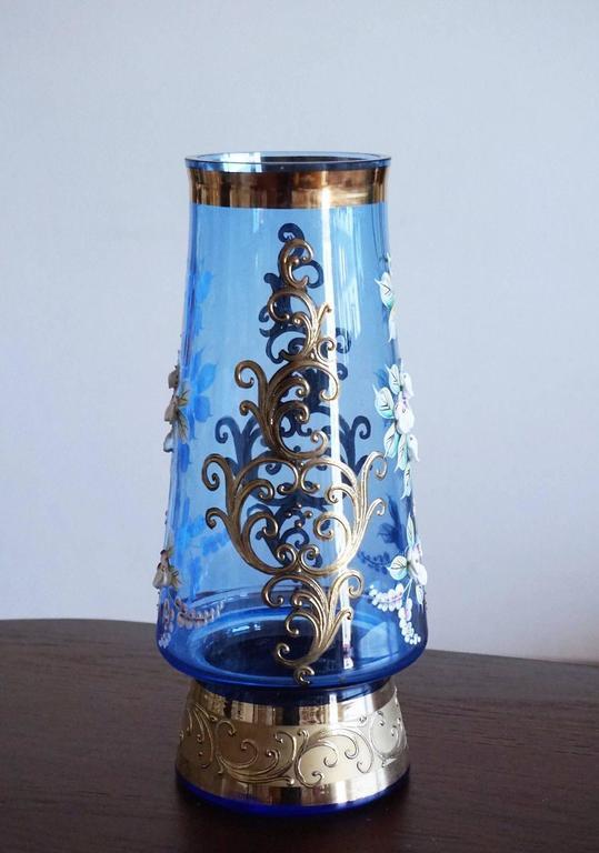 Bohemian Blue Art Glass Vase 22 Karat Gold Gilded Enameled Decor Floral Motif At 1stdibs