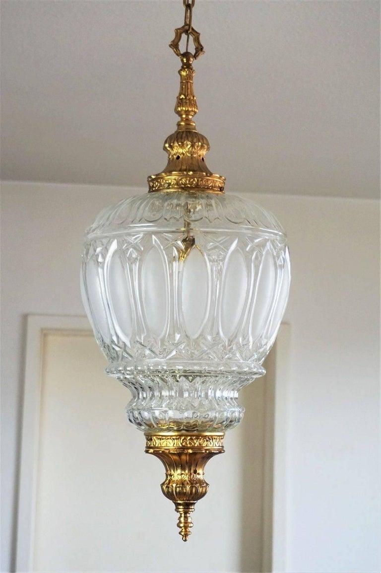 Art Deco Large Art Glass and Gilt Bronze Lantern Chandelier, circa 1920 3
