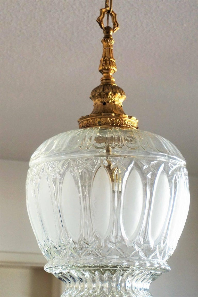 Art Deco Large Art Glass and Gilt Bronze Lantern Chandelier, circa 1920 6