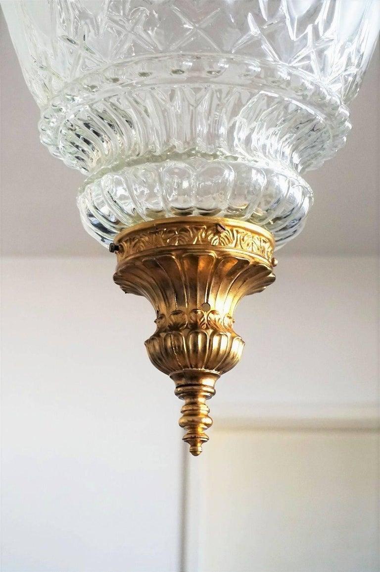 Art Deco Large Art Glass and Gilt Bronze Lantern Chandelier, circa 1920 8