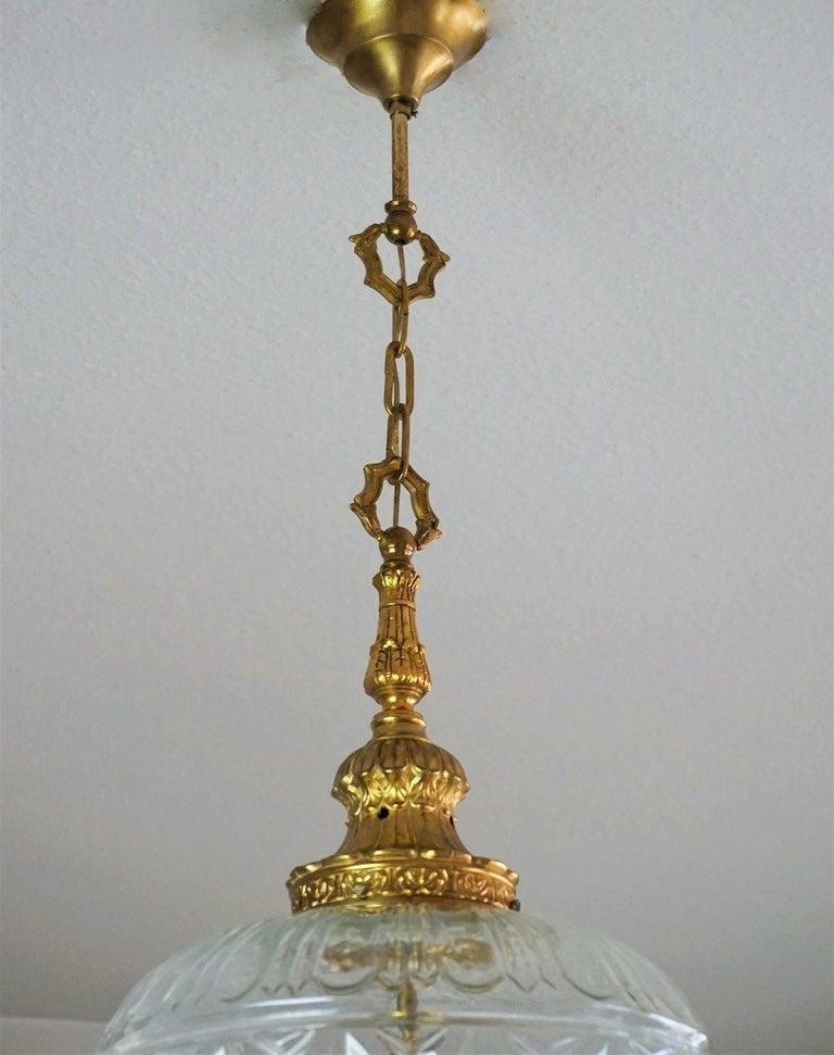 Art Deco Large Art Glass and Gilt Bronze Lantern Chandelier, circa 1920 9